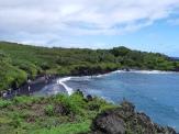 Plage de sable noir au Waianapanapa State Park