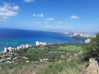 Vue panoramique sur Honolulu et Waikiki du sommet de Diamond Head